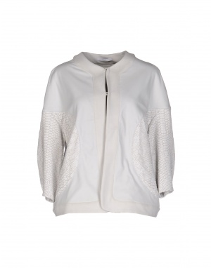 Кожаная куртка-жакет DE PIETRI, 46 размер дизайнера: 44 (IT). На рос. 46-48. Светло-серый