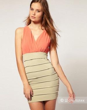 Rare Low V Neck Colour Block Dress UK12