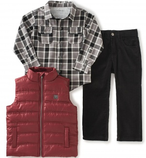 Calvin Klein комплект 3-ка (рубашка + джинсы + жилетка) на мальчика, размер 18 мес. (1,5 года)