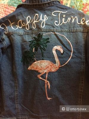 Джинсовая куртка с фламинго, размер S, NO NAME