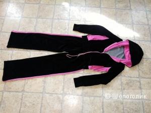 Плюшевый спортивный костюм, чёрный + ярко- розовый, 42-44 размер.