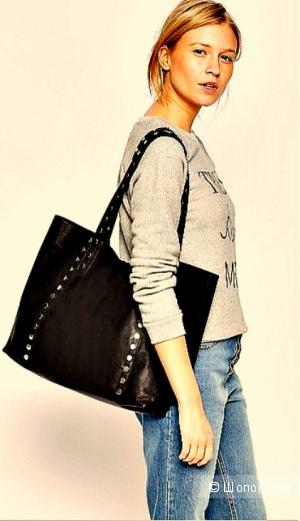 Черный кожаный шоппер Асос
