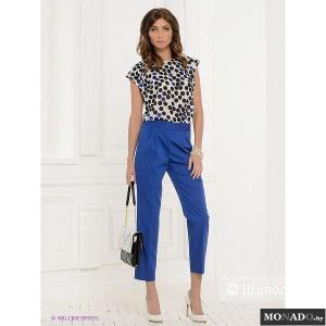 Классные дизайнерские брюки Charuel ярко-синего цвета размер 50