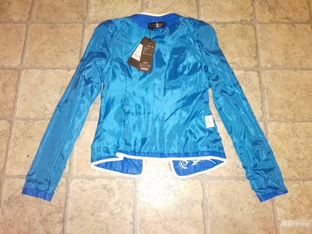 Ярко - голубая курточка из качественной экокожи  Н. Daijiamei размер М - 160\84А