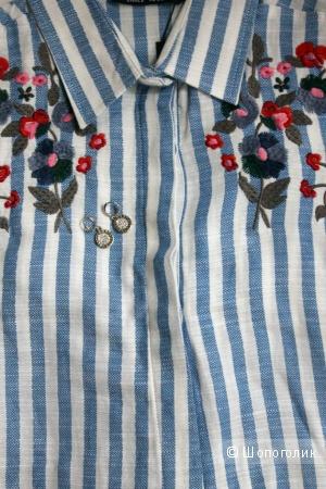 Хлопковое полосатое платье-рубашка с вышивкой, размер М
