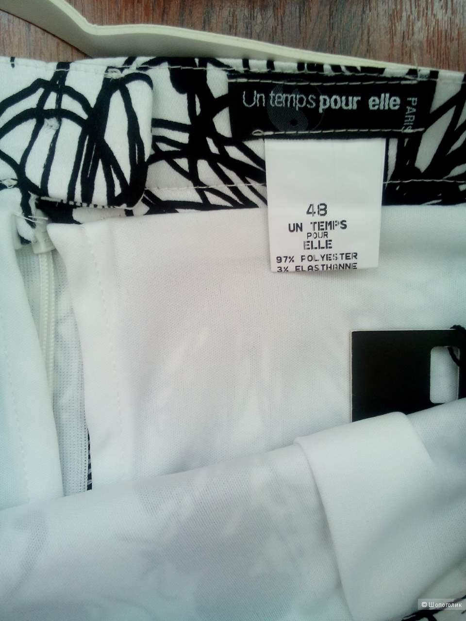 Юбка черно-белая Франция, с подкладом, un temps pour elle,  размер 48. Российский 50-52