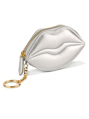 Кошелек-Ключница-Косметичка Victoria's Secret Metallic Lips Card Pouch, серебряная