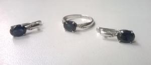 Комплект серебро 925 сапфир фианиты кольцо 16 размер