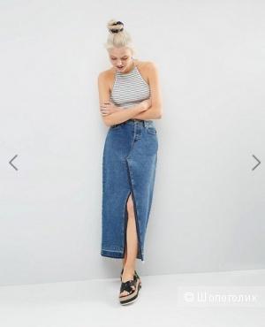 Крутая джинсовая миди юбка  с разрезом UK 10