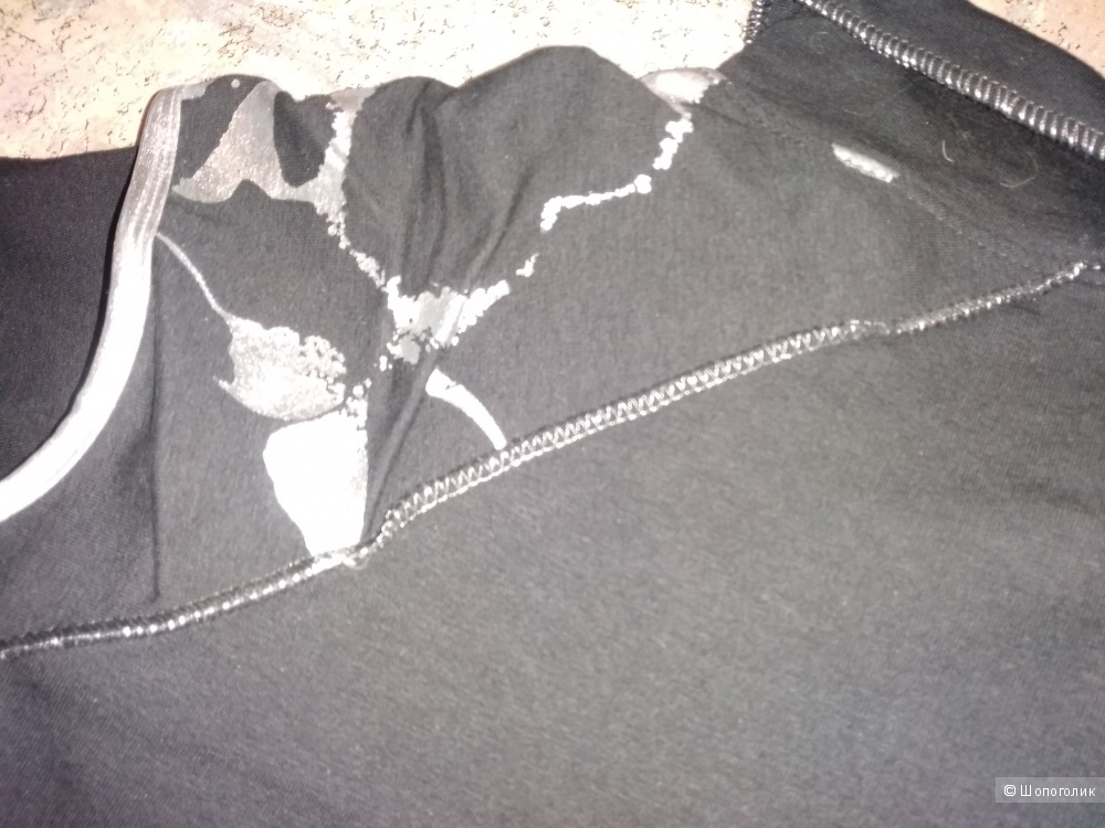 Замечательная кофточка + водолазка, EXZOTICA, цвет чёрный + серебро, размер 42.