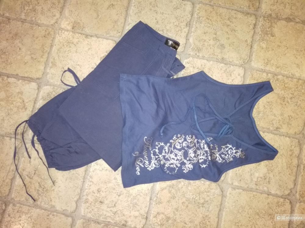 Лёгкий, летний костюмчик от YISHABEIER 42 размера, очень красивого синего цвета.