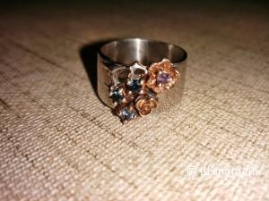 Очень красивое серебряное кольцо с сапфирами ручной работы, Тайланд.