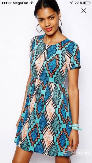 Платье-футболка с ацтекским принтом River Island Chelsea Girl (uk 10)