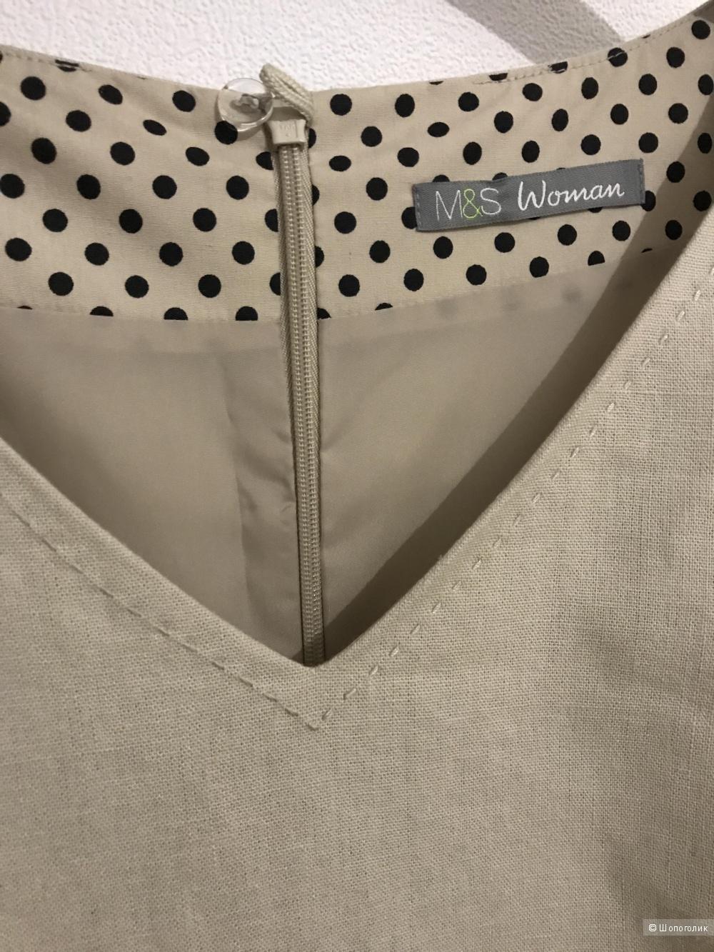 Летнее Льняное платье Marks&Spencer по фигуре, размер uk16(русский 52)