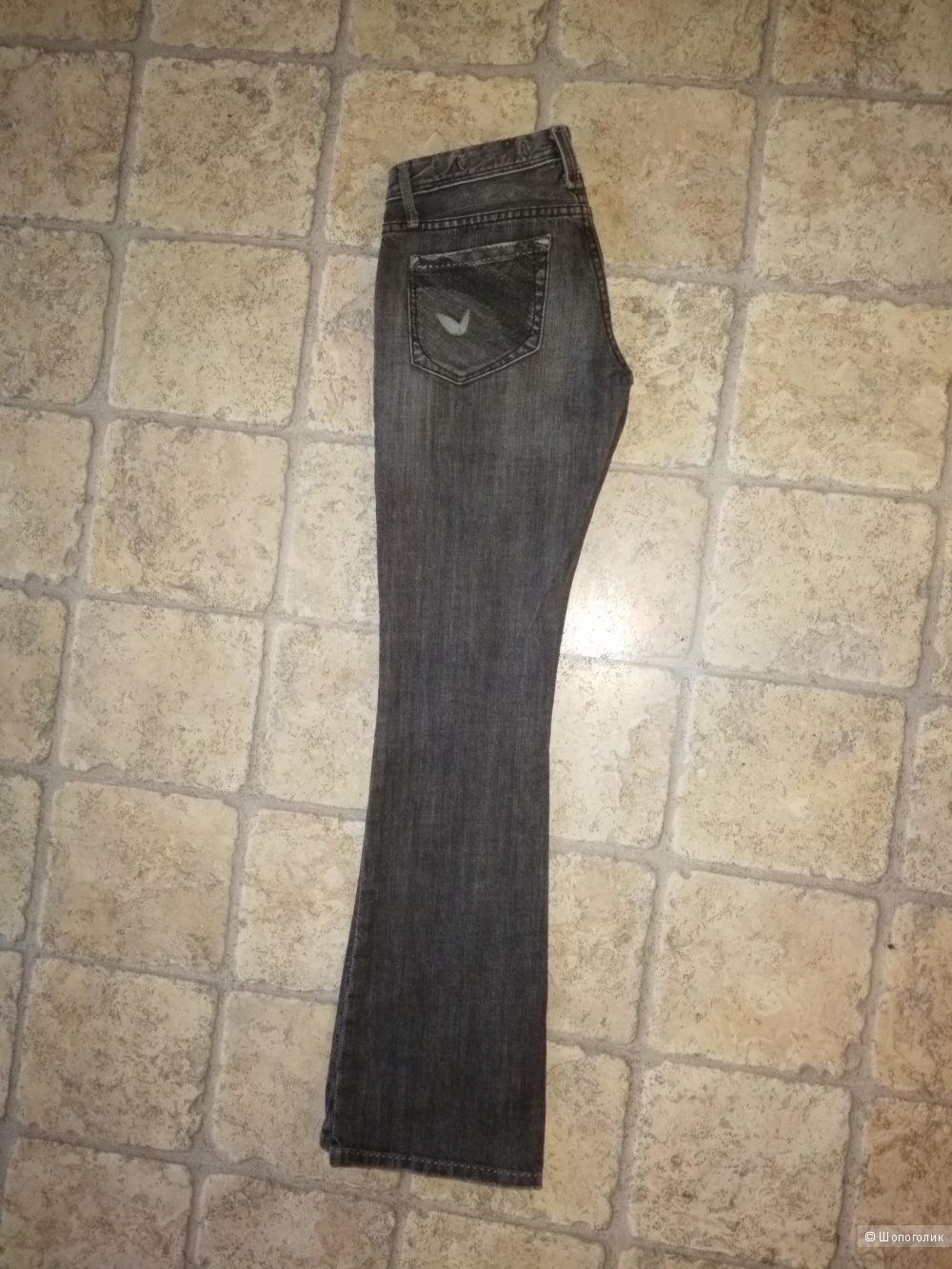 Джинсики - клёшики от Stress 7, чёрно - серого цвета, 25 - 26 размера.