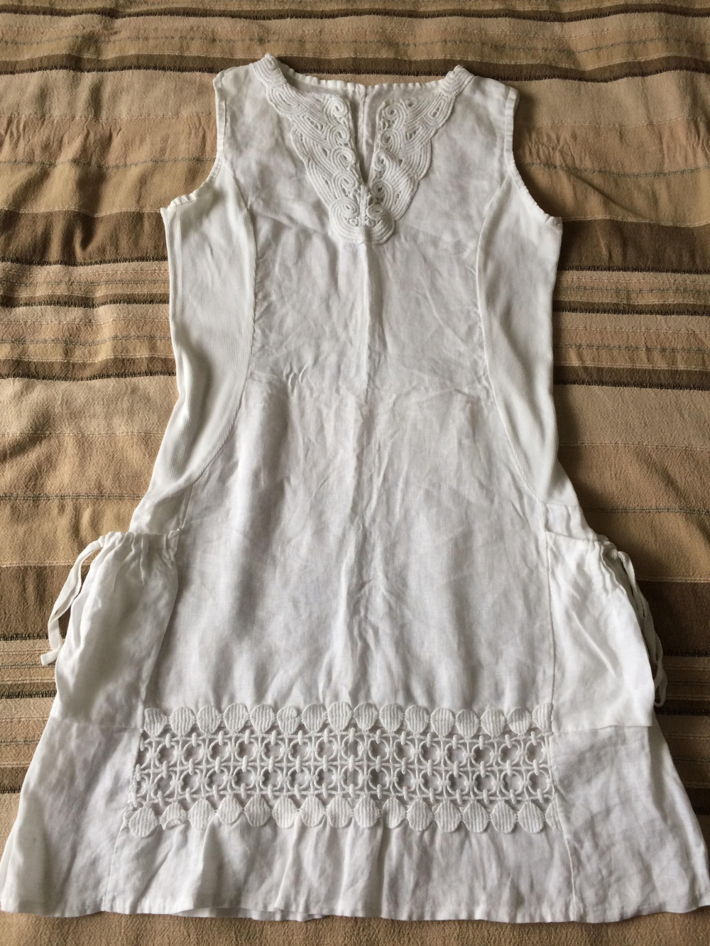 Белое платье, лён, Польша, размер М