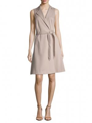 Платье без рукавов с запахом Ava & Aiden. Размер 10US, на рос. 46-48. Бежевое.