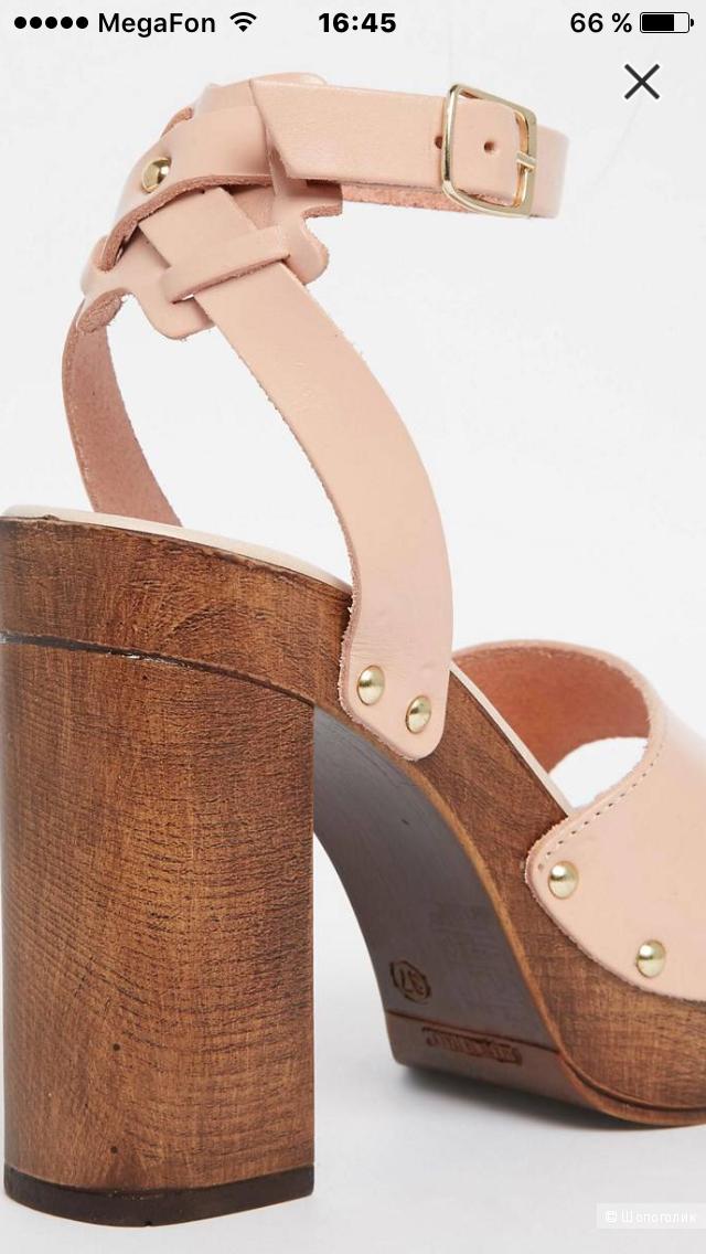 Новые кожаные босоножки на каблуке ASOS TIMER (6uk-39eur) маломерят на 38eur!