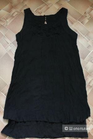 Черное шелковое платье,размер 44-46