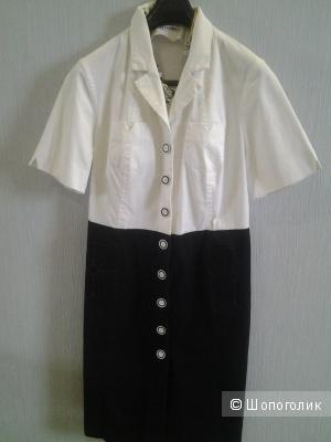 Летнее деловое платье из плотного 100% хлопка. размер 48.
