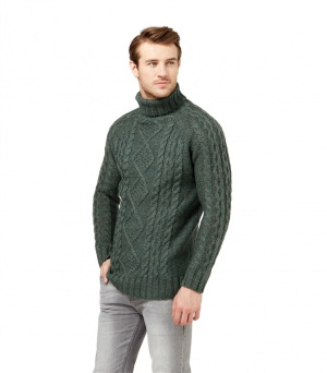 Аранский свитер новый, болотного цвета, р 46