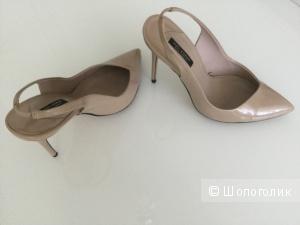 Туфли Zara нюдового цвета, маркировка 38