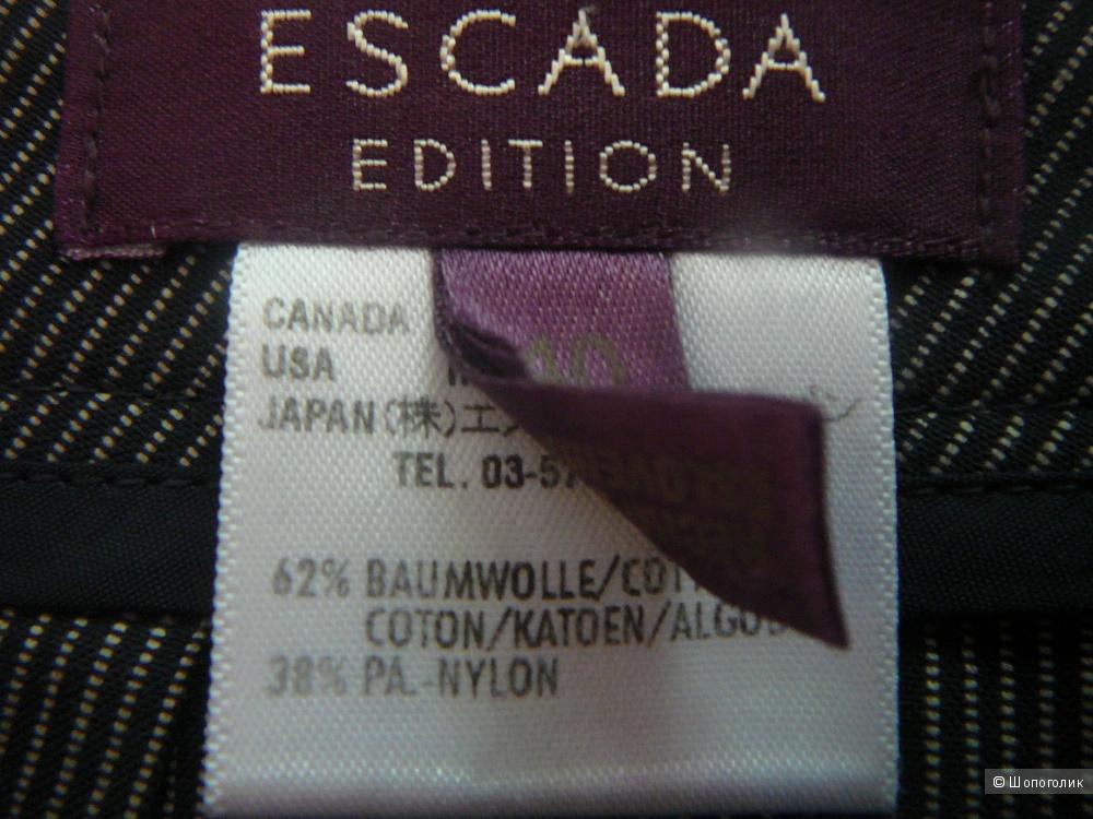 Черные брюки в тонкую белую полоску ESCADA р46-48