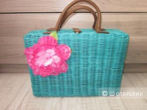 Оригинальная летняя плетеная сумочка-чемоданчик цвета морской волны Аtmosphere