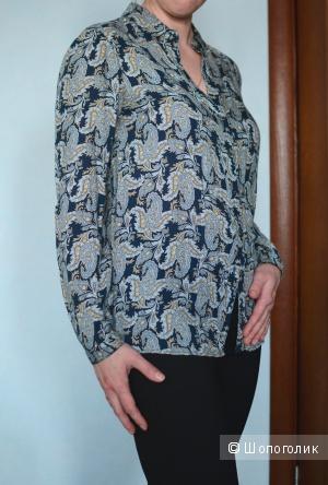 Блузка синяя с цветочным принтом, вискоза, Massimo Dutti, р 46 росс.
