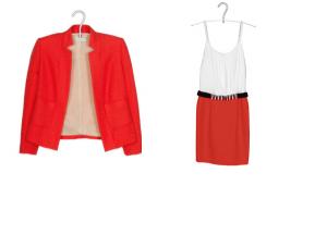 Платье и жакет Sandro красно-кораллового цвета / XS