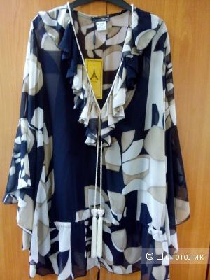 Блузка-туника длинная с отдельным топом черным MY STORY Франция в размере 5 FR(48-50)