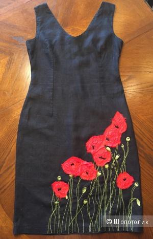 Льняное платье с маками, р-р 42