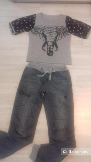 Комплект - джинсы в спортивном стиле и футболка Yes! Miss Италия,  размер 42-44