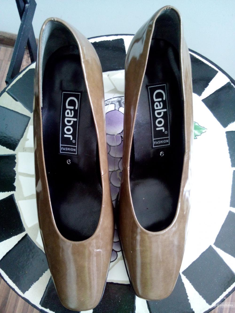 Туфли лаковые(цвет ближе к оливковому) GABOR FASHION Австрия размер 6(39 росс)