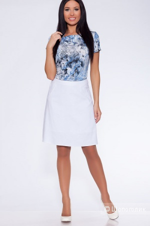 Белая летняя юбка, размер 44
