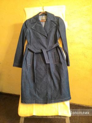 Летний плащ-пальто или просто тренч  из плотной джинсовой ткани ,без подкладки , темно синего цвета, размер XL, Vero Moda