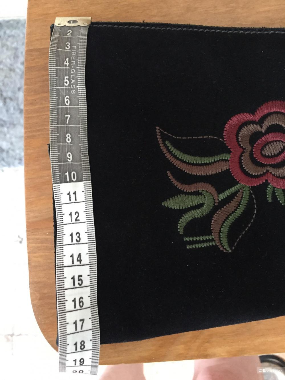 Сапоги Ecco черная замша плюс вышивка размер 36 на 36-36,5.
