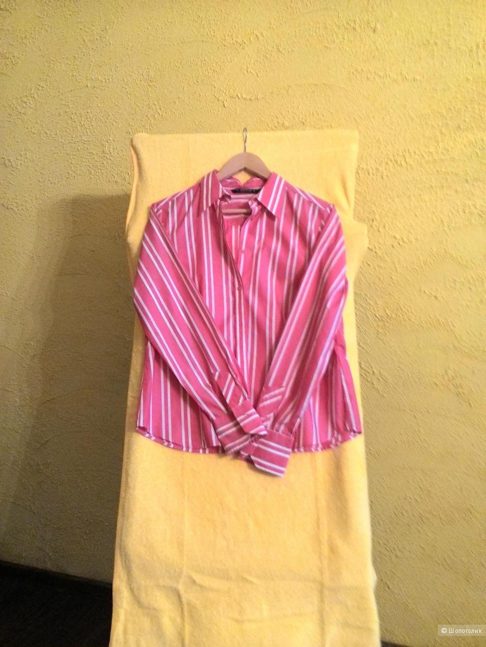 Рубашка в полоску цвета фуксии с белым,   Eterna, размер 40 немецкий