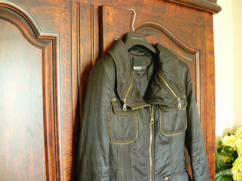 Пальто-пуховик демисезонное в стиле милитари, размер 44-46