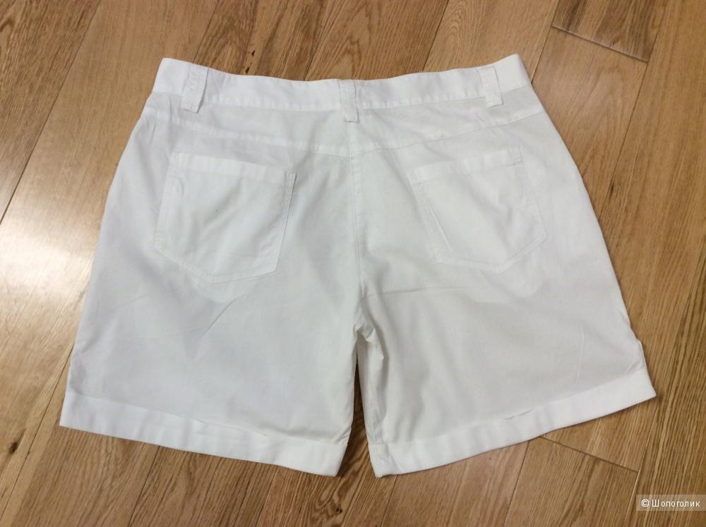 Белые летние шорты из хлопка на р.46