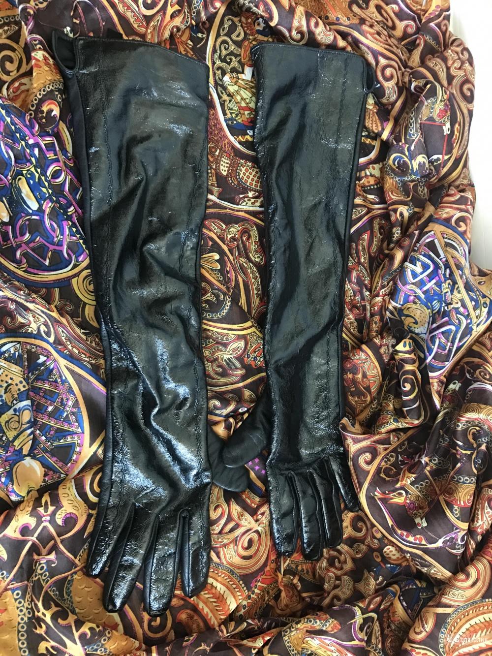 Кожаные высокие перчатки, размер 7