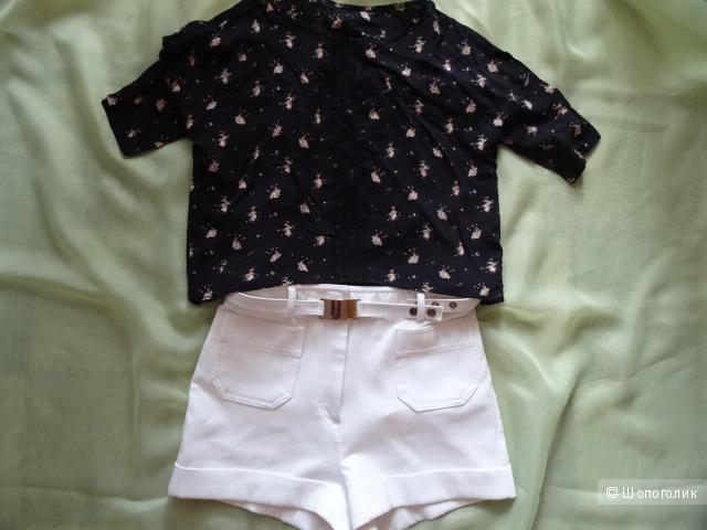 Лёгкая хлопковая блузка с кружевной вставкой, размер 42-44, б/у