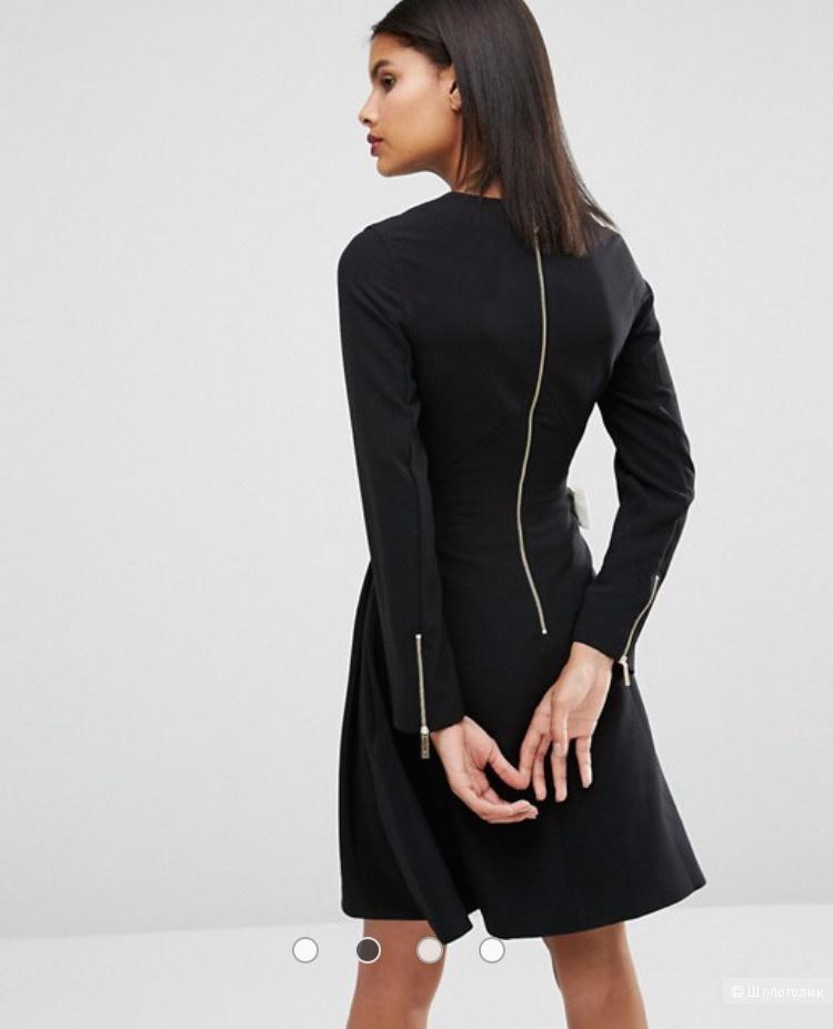 Чёрное платье Ted Baker с белыми бантиками по бокам размер 46-48/ uk 12/size 3