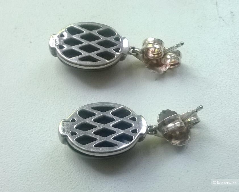 Серьги Lorenzo с агатом серебро 925 новые
