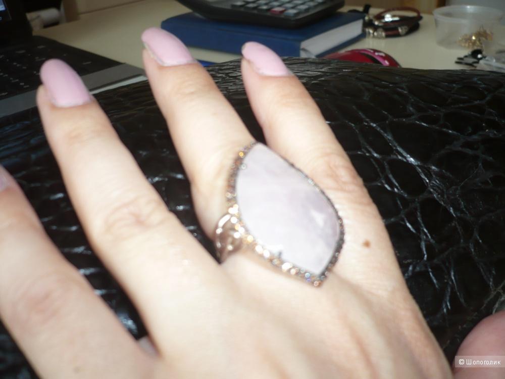Кольцо серебро 925 проба с розовым кварцем, р.17,5