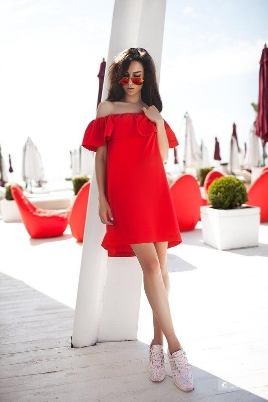 Платье-кармен, размер единый, 44-48, цвет ягодный