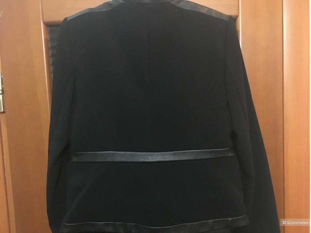 Куртка-жакет MICHAEL MICHAEL KORS с натуральной кожей, дизайнерский размер: 8 (US), на рос. 46. Черный