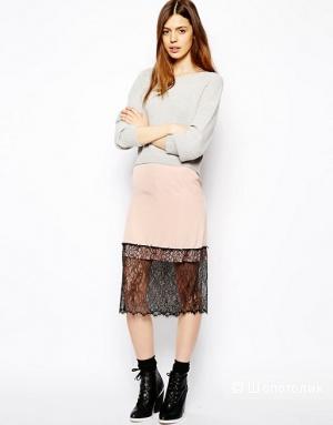 Сатиновая юбка с гипюром Asos UK6