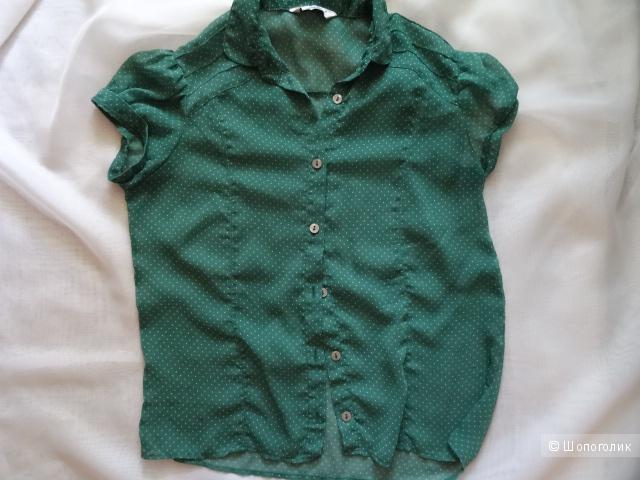 "Блузка в мелкий горошек ""Аtmosphere"", размер 42-44, б/у"