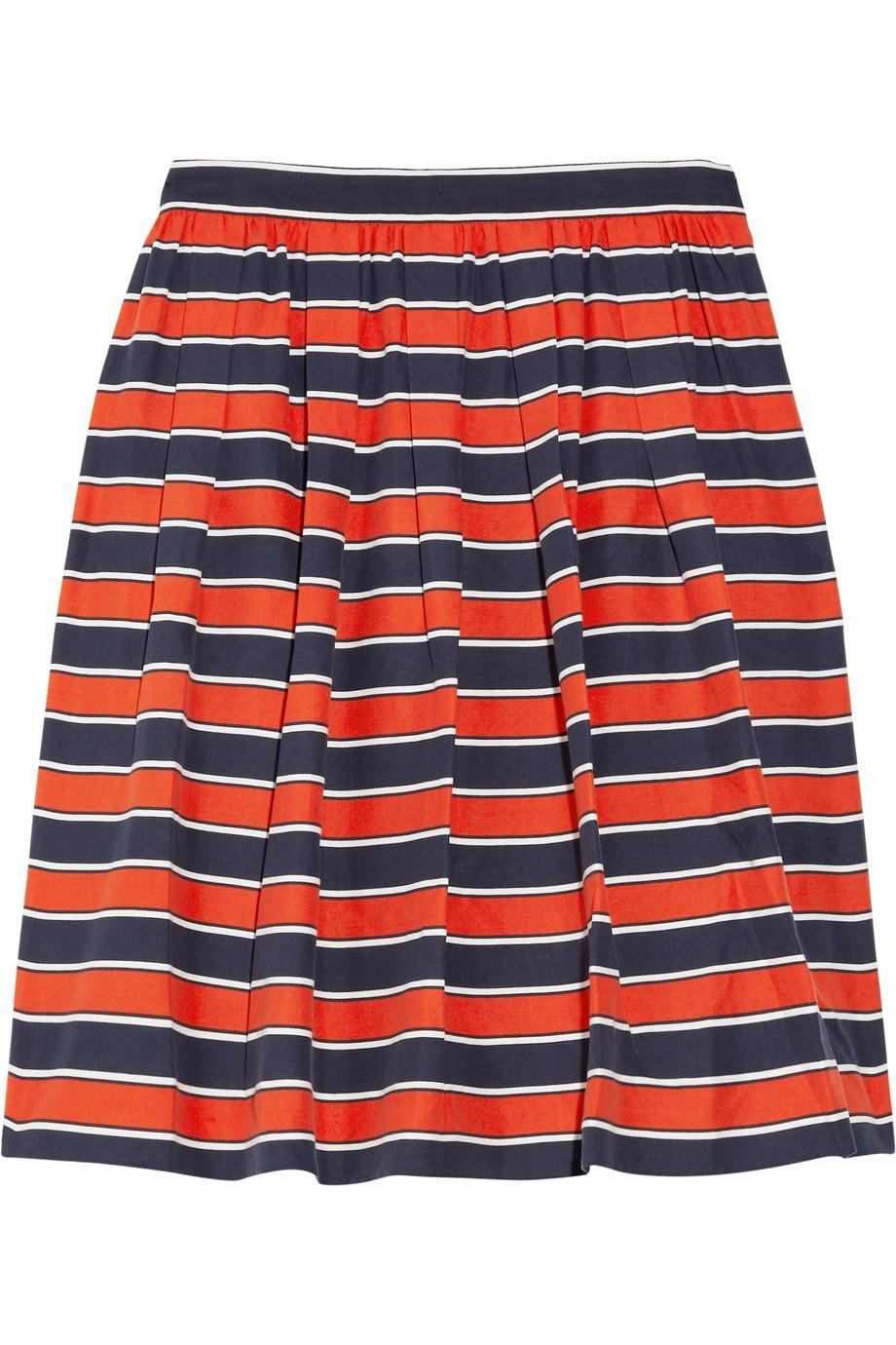 Шелковая полосатая юбка J Crew, размер US 10 (на росс.46-48)